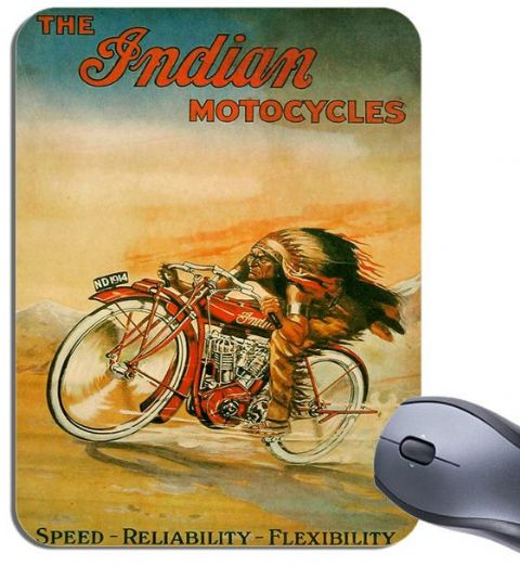 Vintage Indian Motorcycle 1914 Ad Poster Mouse Mat. Headress Motorbike Mouse Pad